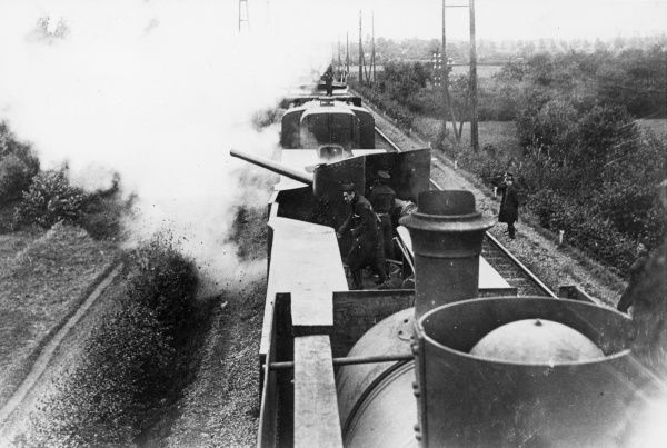 A Belgian armoured train in action during the First World War. Date: 1914-1918