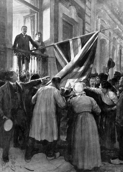 Illustration by Lascelles, of a crowd of Belgian people gathered outside the British consulate in Ostend, kissing the Union Jack