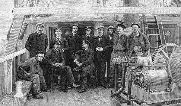 The Belgica expedition which gathered many geological samples. The expedition members on board the Belgica. Date: 1897-98