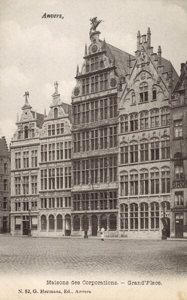 Belgium - Anvers - Grand Place with the Maisons des Corporations Date: circa 1910s
