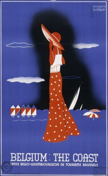 Poster from the Belgian Luxembourg tourism office in Brussels proclaiming the attractions of the Belgian coast with a female figure in beach wear and sun hat against a blue ground with beach huts, sailing ships and parasols