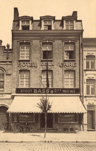 Belgium - Ypres - Hotel de la Gare Restaurant selling British Bass Beer, attesting to the number of tourists from the UK flocking to the town after the end of World War One. Date: circa 1920s