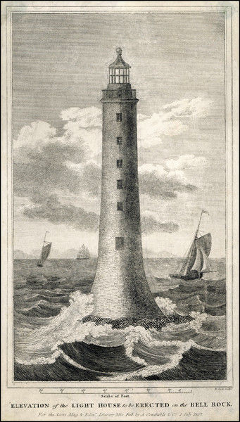 Proposed elevation of Bell Rock lighthouse with scale