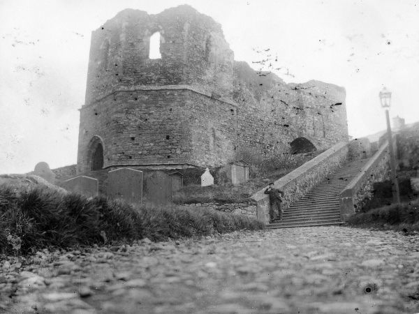 The partially ruined Bell Tower in The Pebbles, St David's, Pembrokeshire, Dyfed, South Wales, with 39 steps leading up the side. The Bell Tower has been restored since this photograph was taken, and there is a peal of ten bells every Sunday