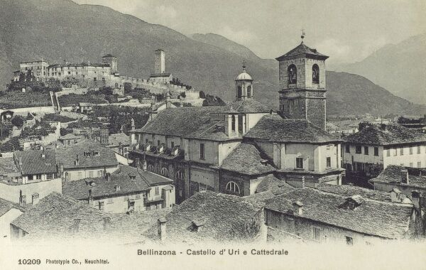 Bellinzona, Switzerland - Castelgrande and the Cathedral