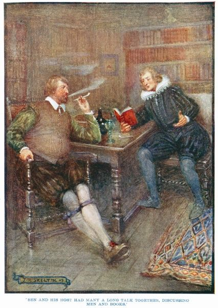 'Ben and his host had many a long talk together, discussing men and books.' Poet and dramatist Ben Jonson (1572 - 1637) smoking a pipe and talking with Scottish poet William Drummond (1585 - 1649) at Hawthornden Castle, near Edinburgh