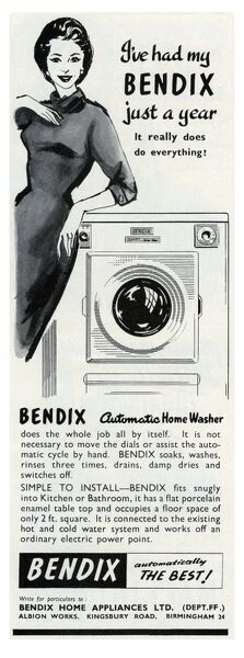Advertisement for the Bendix automatic home washer, which, claims the woman in the advert, 'really does do everything'. I find that hard to believe.  c.1955