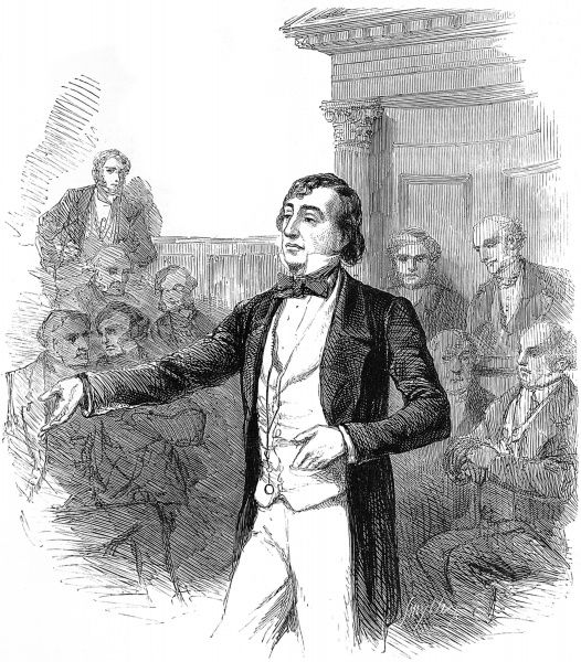 Engraving showing Benjamin Disraeli (1804-1881), 1st Earl of Beaconsfield, setting forth his opinions at the Bucks Election of 1847