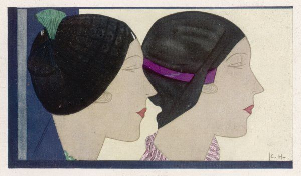Two hats by Rose Valois described as berets. Both are close-fitting and brimless