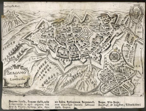 Fairly crude early engraving of the city of Bergamo seen from above showing the fortified walls and surrounding countryside