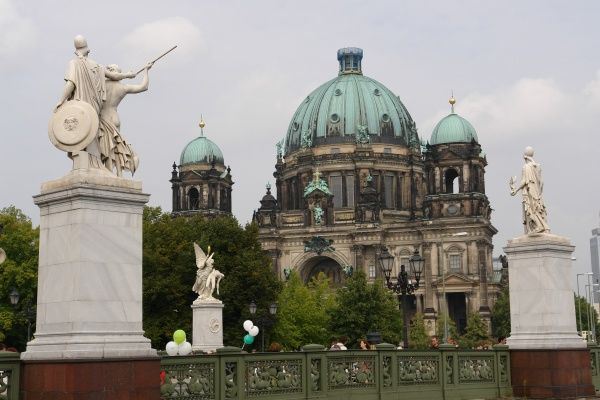 View of Berlin Cathedral from across the Schlossbrucke (Palace Bridge), Germany