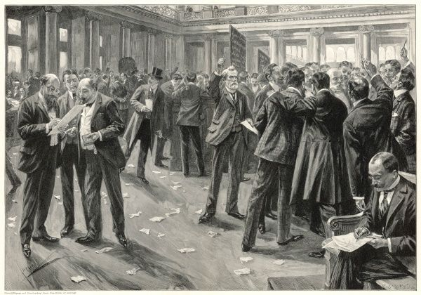 A lively scene in the Berlin stock exchange