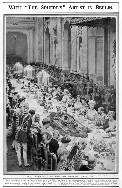 A state banquet held in the White Hall of the Great Schloss in Berlin to celebrate the forthcoming marriage of the Kaiser's only daughter
