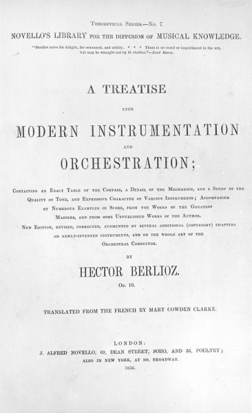 HECTOR BERLIOZ - Frontispiece of his book 'A Treatise on Musical Instrumentation and Orchestration.&#39