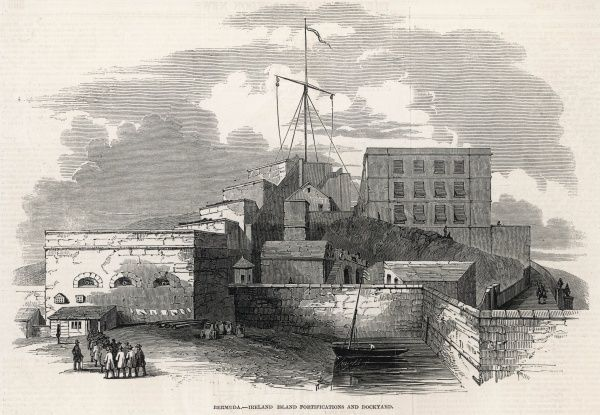 Ireland Island fortifications and dockyards in Bermuda, showing transported convicts arriving to serve their penance