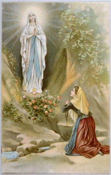 Bernadette Soubirous, while gathering firewood, sees the Virgin Mary in the rocky grotto at Lourdes