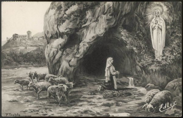 How myths arise : Bernadette is depicted with sheep, though she is actually gathering firewood : but the 'little shepherdess' image is more picturesque