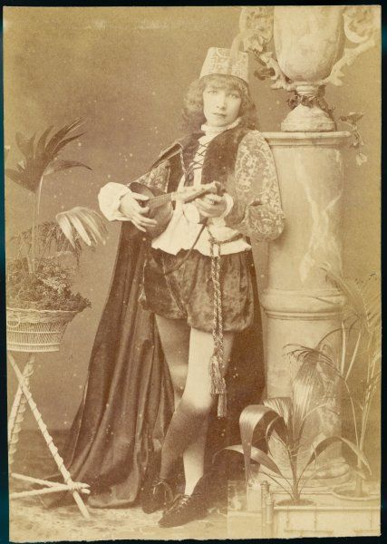 SARAH BERNHARDT French actress as a minstrel boy playing a lute