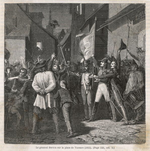 At Thouars, Jean-Baptiste Berton, one of Napoleon's generals, is persuaded to head an insurrection against the Bourbon monarchy : but he is let down by his supporters