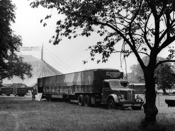 The Circus Comes to Town! A picturesque setting for the Bertarm Mills Circus, at Maidstone, Kent, England. Date: 1950s