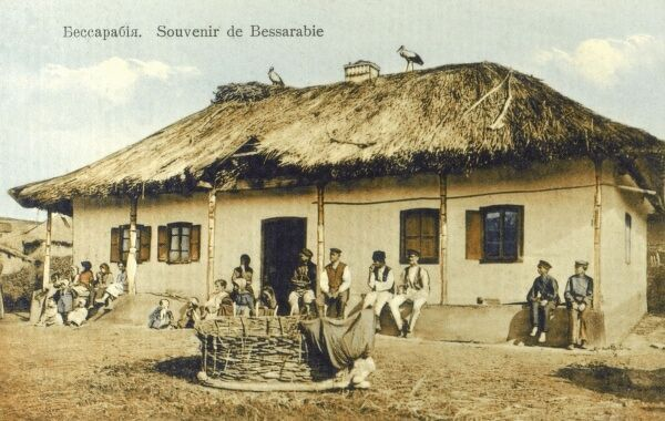 Bessarabia (which became Moldova) - typical village scene. 'Lucky' storks nesting on the roof! Date: circa 1910s