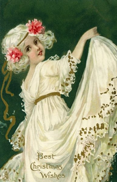 Best Christmas Wishes -- girl in white dancing.  20th century