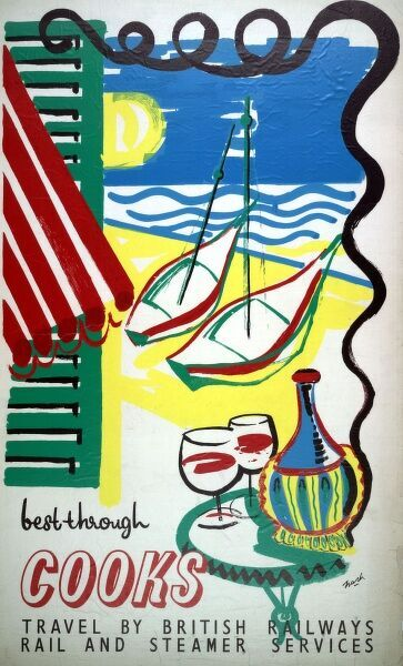 Poster or handbill design for Best Through Cooks, travel by British Railways rail and steamer services, showing a Mediterranean beach scene with boats, two wine glasses and a bottle, a green shutter, and a red and white striped sun awning