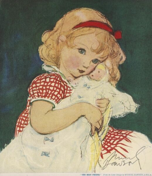 Charming illustration showing a sweet little girl with a red ribbon tied in her blonde hair, cuddling her favourite doll close