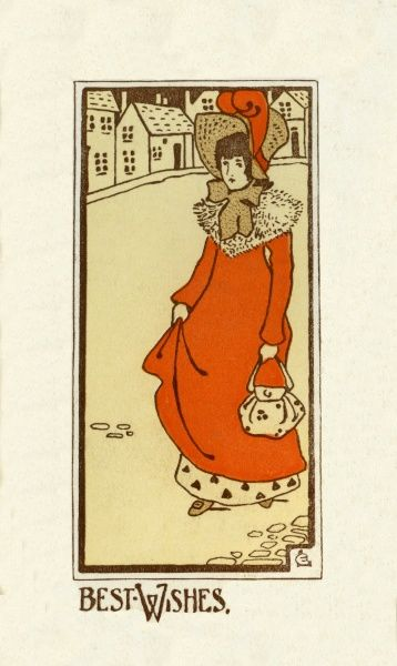 Best Wishes from a lady in a red coat.  20th century