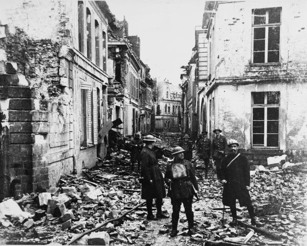 One of the less damaged streets in Bethune on the Western Front in France during World War I in May 1918