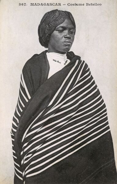 Betsileo Costume - Madagascar. A wonderful photograph of a woman wrapped in a fine piece of patterned cloth