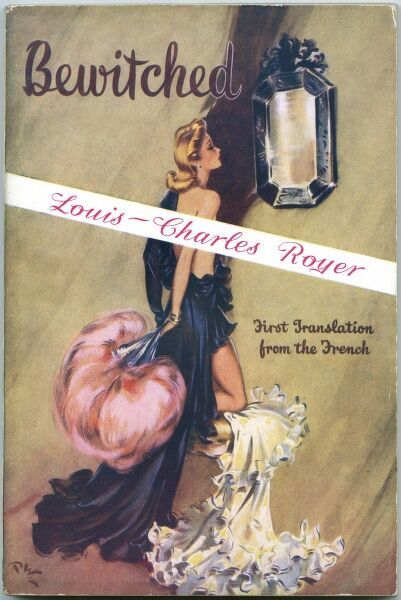 Front cover of a pulp fiction novel by Louis Charles Royer, featuring an illustration by British pin-up artist, David Wright. A scantily clad blonde lady contemplates her reflection in a Venetian mirror while holding a flamboyant pink feather fan