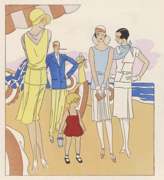 A family stroll on the beach. Everyone, except papa and little Marie-Cecile, are wearing stockings by MONDIA, preferred by all smart and practical women