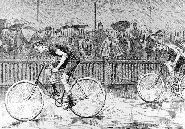 Engraving showing one of the bicycle races between Catford Cycling Club and a Dutch team, held at Catford, August 1892. The Dutch team won the event by 9 points to Catford Club's 11. The cyclists shown in this image are J.Feith (leading) then Rademaker