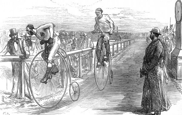 Engraving showing a race between G.P. Whiting (left) and G