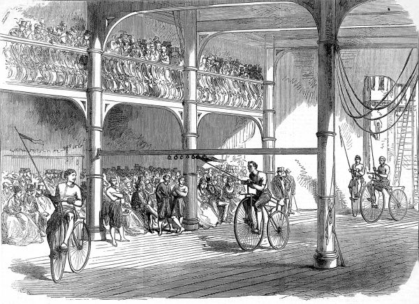 Engraving of a Bicycle Tournament, held by the Liverpool Velocipede Club, at the Myrtle-Street Gymnasium, Liverpool, April 1869