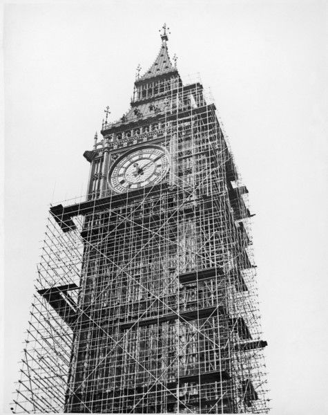 Big Ben covered with scaffolding as the masonry is repaired and cleaned