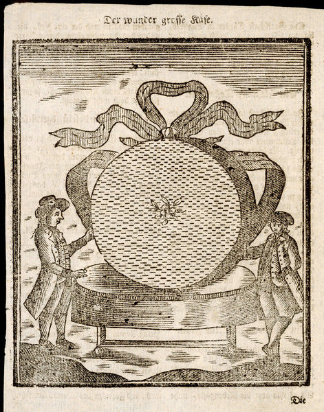 Cheese weighing 1000 pounds (lbs) given as a gift to King George III in 1793 from the Duchy of Chester. Presumably a Cheshire cheese? Two men stand by to give an idea of scale