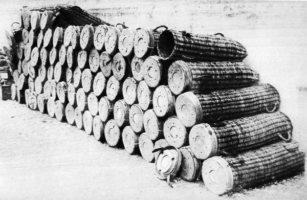 For big projectiles used by the Germans in the Great War: Wicker cases for shells