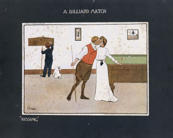 An illustration of a couple who have been playing billiards. While a little boy and his dog are occupied in recording the score, they seize the opportunity for a kiss