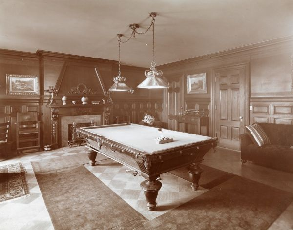 Billiard Rooms, Private Residences. Interior of a billiard room in an unidentified private residence