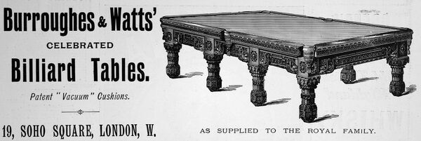 Advertisement from 1897 for Burroughes & Watts 'celebrated' billiard tables with patented vacuum cushions