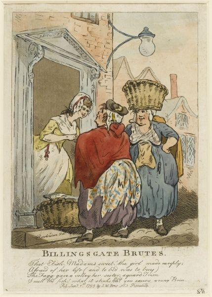 A genre scene, seemingly charming. In reality a young woman at a doorway is intimidated by two stout Billingsgate fishwives into buying their stinking fish