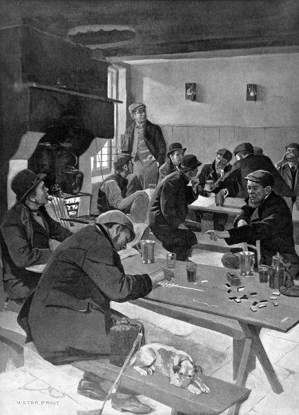Illustration showing a bird singing match, in progress in a public house, in the East End of London, 1903
