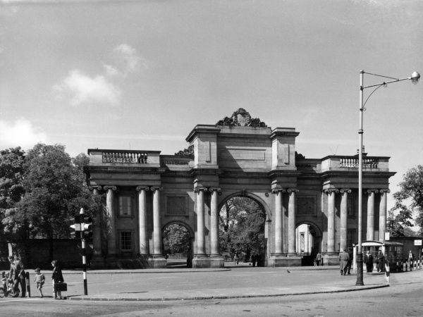 The fine Neo Classical entrance gateway to Birkenhead Park, Merseyside, England. The park was opened in 1847.  1950s