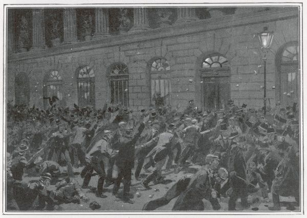 A riot by Pro-Boers at a meeting of the Liberal association at Birmingham Town Hall. Lloyd George who addressed the meeting escaped dressed in policeman's uniform
