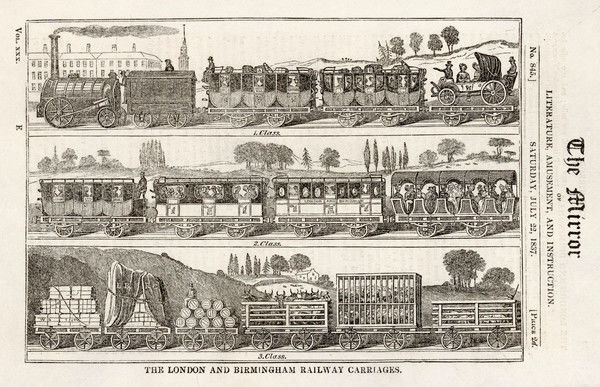 BIRMINGHAM RAILWAY: classes of train - each would have had its own engine. First: has a gentlemen's barouche! Second: Royal Mail & passengers. Third: Goods & livestock