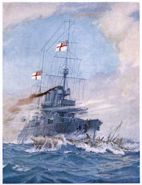 HMS Birmingham, commanded by Captain Arthur Duff, ramming the German submarine U15