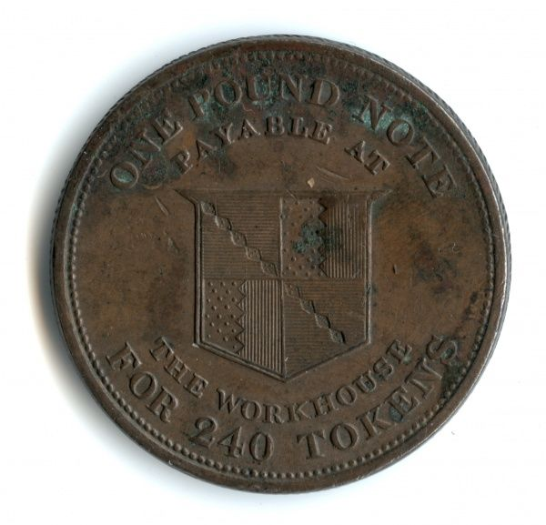 A penny token issued in 1812 by the Birmingham workhouse. The design on the coin shows a coat of arms and the text 'One Pound Note for 240 tokens payable at the workhouse'. Date: 1812