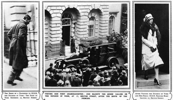 Three images from the birth of Princess Elizabeth, 1926.The Duke of York,later King George VI, is shown entering 17 Bruton Street after the birth of his daughter. Queen Mary, the baby's grandmother, is shown entering and leaving the house